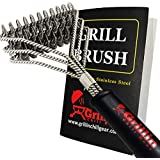 Grillin Chill Gear Grill Brush Bristle Free – Safe, 100% Rust Resistant, Heavy Duty Stainless Steel Grill Cleaner Safe for Iron, Porcelain, Ceramic, Steel – Best Grilling Accessories Gift