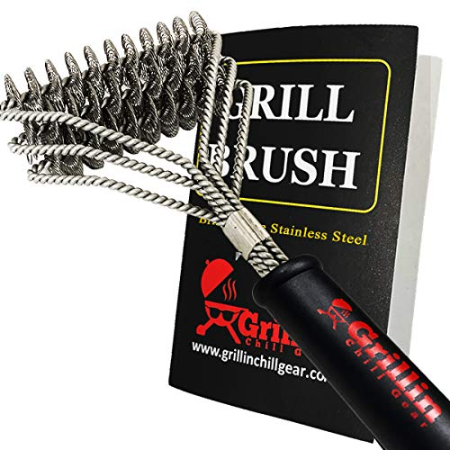 (Grillin Chill Gear Grill Brush Bristle Free – Safe, 100% Rust Resistant, Heavy Duty Stainless Steel Grill Cleaner Safe for Iron, Porcelain, Ceramic, Steel – Best Grilling Accessories Gift)