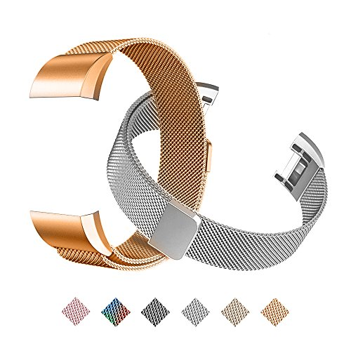 Tecson Magnetic Bands Compatible Fitbit Charge 2 (Pack of 2), Stainless Steel Metal Milanese Replacement Strap with Magnet Lock for Fitbit Charge 2, Rose Gold and Silver
