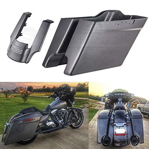 (Charcoal Pearl 4 1/2 inch Extended Stretched Saddlebags with Fender Extension Fit for Harley Touring Road Glide Street Glide Road King Electra Glide)