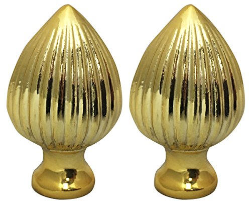 Pointed Finial - Royal Designs Ribbed Pear Lamp Finial for Lamp Shade- Polished Brass Set of 2