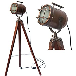 Antique Brass Wooden Tripod Lamp Spot Focus Searchlight