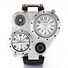LightInTheBox Discount Unisex Multi-Movement Dual Time Zones Multifunctional Compass Thermometer PU Band Quartz Analog Military Wrist Watch Fashion Sport Watches for Men or Women- White Dial