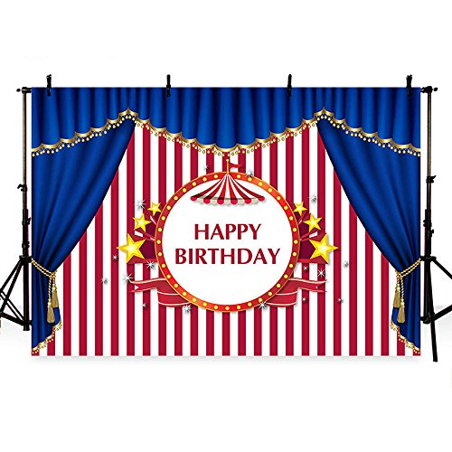MEHOFOTO Photo Backgroud Circus Themed Blue Curtain Red Stripes Children Happy Birthday Party Decoration Backdrops for Photography 7x5ft -