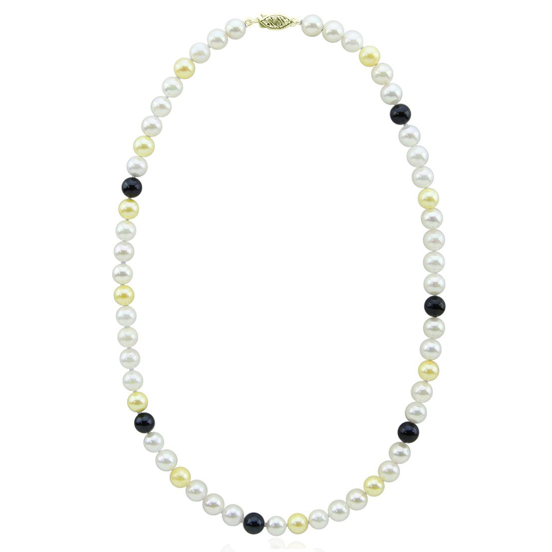 14K Yellow Gold High Luster Multi Color AA+ Quality Akoya Cultured Pearl Necklace 22 Inches- Style 1 by Akwaya