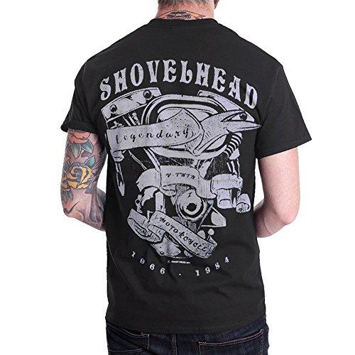 Shovelhead Engine NEW Motorcycle Biker Men T Shirt Shortsleeve Black (X-Large)