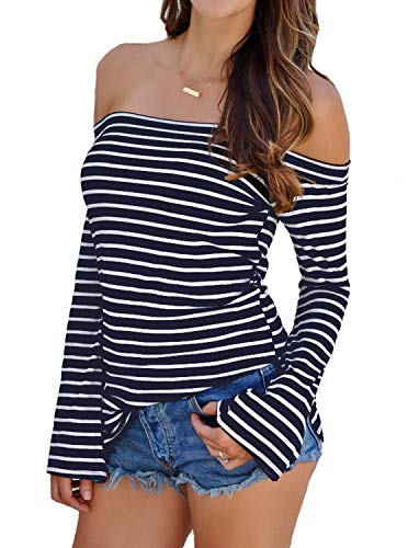 408fa83600685c Jual Adreamly Womens Sexy Off The Shoulder Striped Shirt Blouse Tops ...