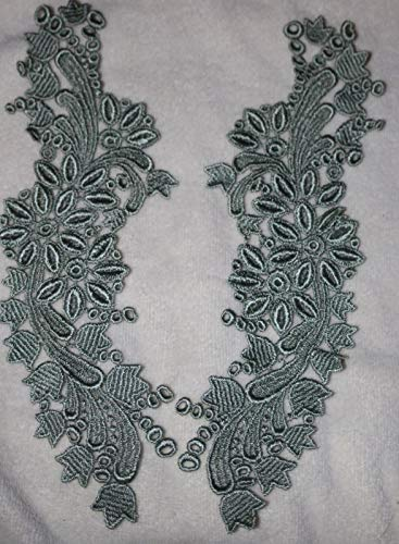 (1.50 Sage Green Venise Peter Pan Collar Sewing Embroidered u4)