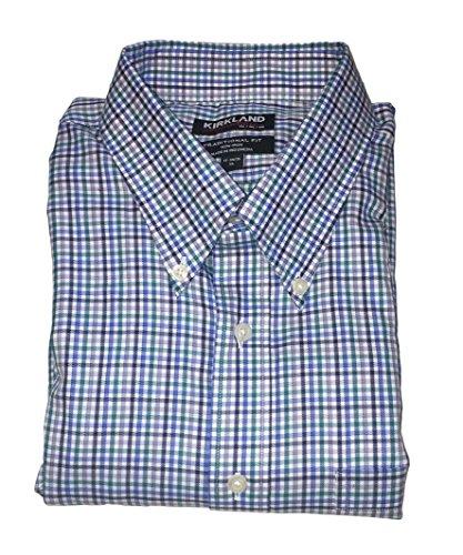 Mini Tartan Shirt - Kirkland Signature Men's Traditional Fit Button Front Long Sleeve Shirt (Blue Teal Mini Plaid, 16 34/35)