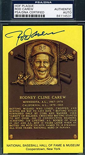 ROD CAREW PSA DNA Coa Autograph Gold HOF Plaque Hand Signed Authentic