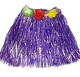 Demarkt Children Hawaiian Hula Skirt Girl Hula Skirt Grass Lei Garland Set for beach party Skirt Clothes Sport Games Cheerleading Clothing for Kids Baby Show Suit Purple(30CM)