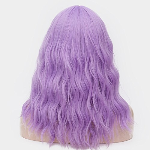 OneUstar Women's 18 inch Long Wavy Curly Wig Cosplay Party Wig Light Purple by OneUstar (Image #2)