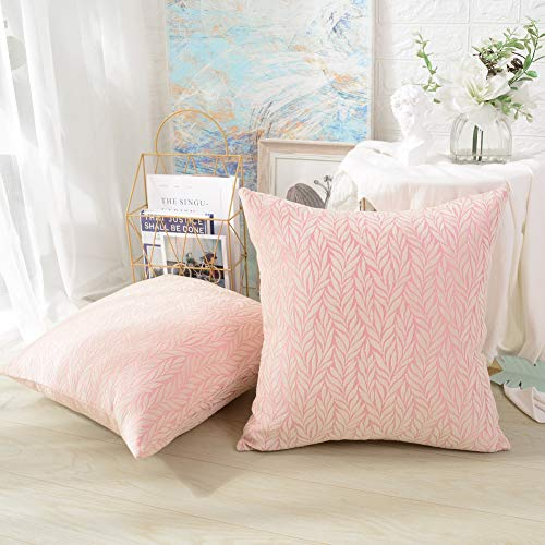 MERNETTE Pack of 2, Chenille Soft Decorative Square Throw Pillow Cover Cushion Covers Pillowcase, Home Decor Decorations for Sofa Couch Bed Chair 18x18 Inch/45x45 cm (Leaf Pink)