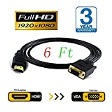 HDMI to VGA Cable Adapter Converter Monitor 15 pin d-Sub d Sub HDMI Gold Male to VGA Male Connector Cord Transmitter one-Way Transmission for Computer PC 6Ft 1.8M (Black)