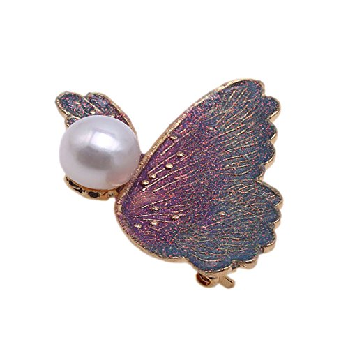 JYX 10.0mm Lavender Round Freshwater Cultured Pearl Brooch - Butterfly Pearl Brooch