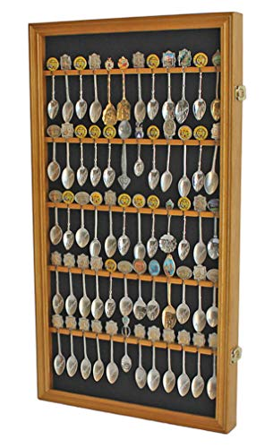 60 Spoon Rack Display Case Holder Wall Cabinet, UV Protection, Lockable (Oak Finish)