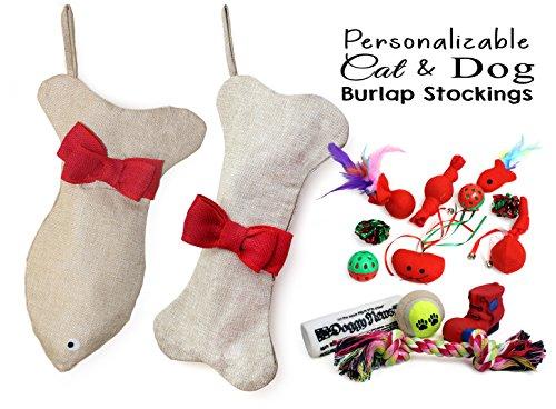 Stocking Pet Cat Dog for Christmas filled with Toys Bone Fish (Dog Bone Stocking)