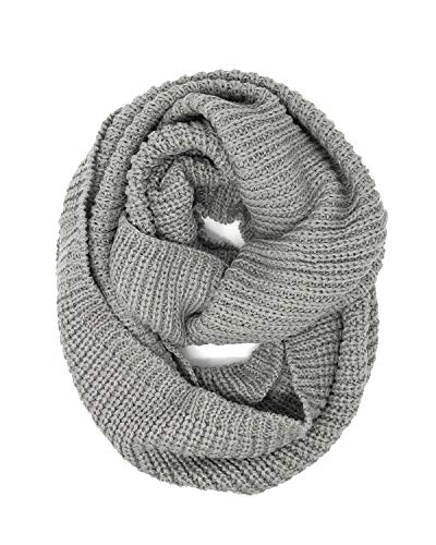 Wrapables Thick Knitted Winter Warm Infinity Scarf, Grey_1