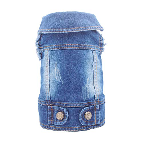 HOLADON Dog Denim Jacket Pet Dogs Short Denim Clothes Coat Jeans Small Medium Dogs or Cats Puppy Vintage Vest Classic (M, Blue A)