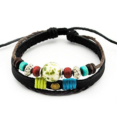 [Victoria Echo Handmade Colorful Multi Stand Beads Braided Leather Wrap Bracelet Adjustable Green] (Womens Ninja Turtle Costume Diy)