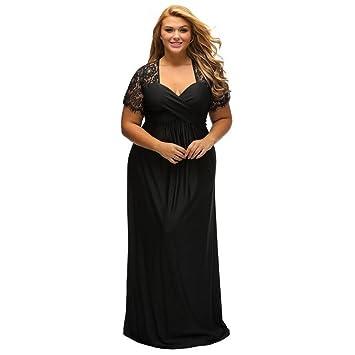 LUCKY-U Vestido De Mujer Tallas Grandes, Negro Vestido De Fiesta Largo Elegante En