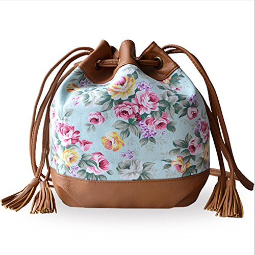 BYD - Mujeres Mini Bucket Bag Rope Strap Lock Design Bolsos totes Fashion Printed Flower Flor