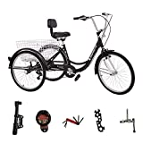 MOPHOTO Adult Tricycle Trike Cruiser Bike Three-Wheeled Bicycle w/Large Basket and Maintenance Tools