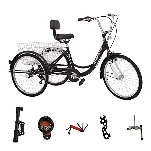 DoCred 24 Inch Adult Tricycle 7 Speed 3 Wheel Bike Adult Tricycle Trike Cruise Bike Men's Women's Cruiser Bicycles w/Large Basket and Maintenance Tools