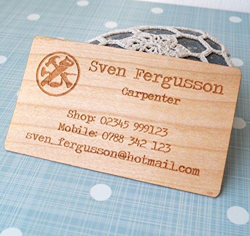 Business cards set of 50, veneer business cards, laser engraved wooden veneer cards, company logo business cards, unique wooden calling card - Set of 50