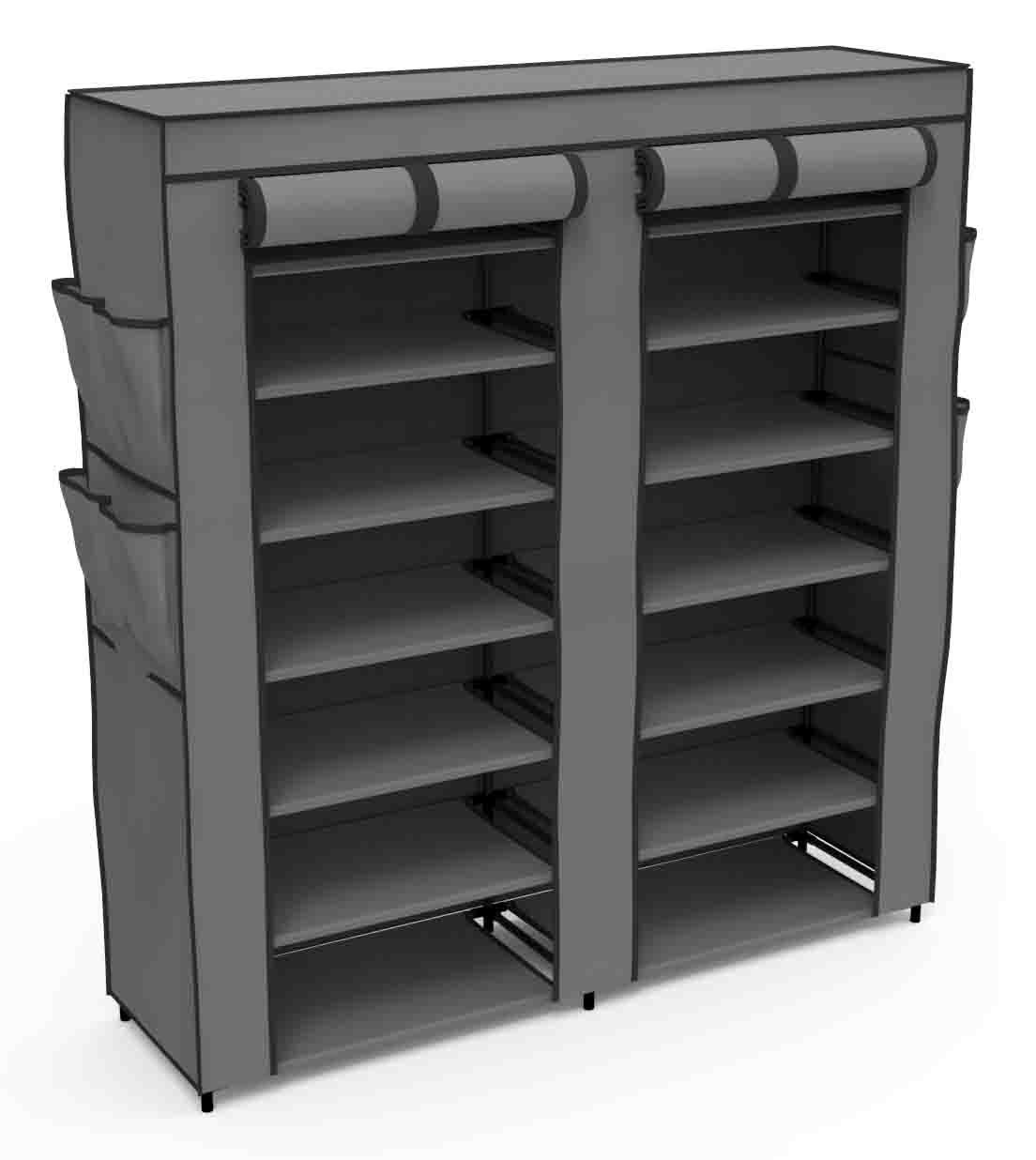Home Basics Multipurpose Portable Wardrobe Storage Closet For Shoes and Clothing 7 Tier/14 Shelves Heavy Duty Non Woven Material With Roll Down Cover (Grey)
