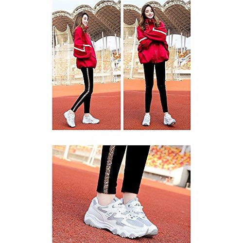 SHOES xiaolin Zapatos de Mujer Versión Coreana High Help Movement Platos de Ocio Zapatos Chica Estudiante Blanco