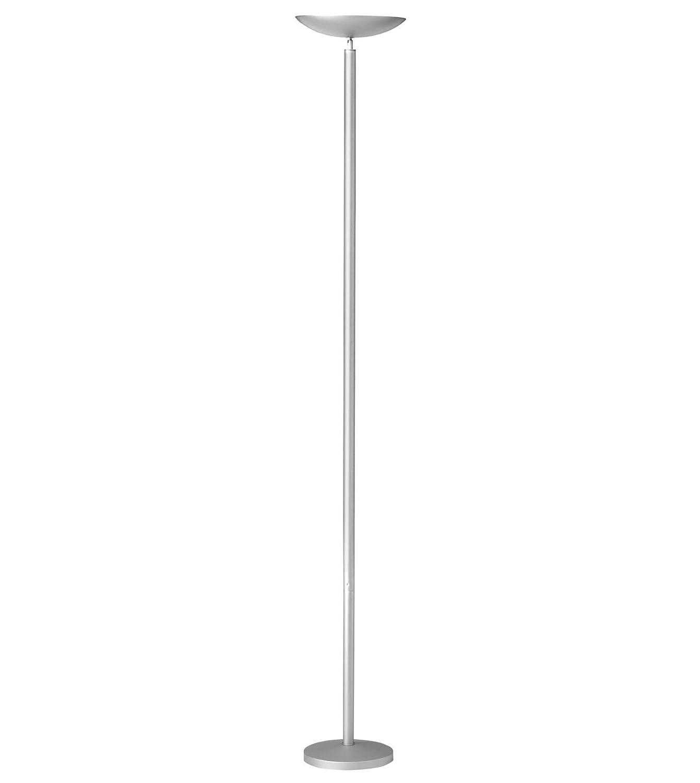 UNILUX 100340559 First Halogen Stehleuchte Stahl Aluminium metallgrau 230V IP20 22W Stehleuchte modern Deckenfluter Standleuchte warmweiss 5060lm Wohnzimmer