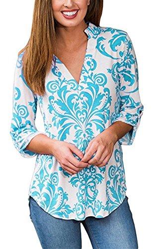 Spandex V-neck Blouse (Women 3/4 Tab Sleeve Shirts V Neck Tunic Floral Print Tops Casual Blouse ((US 12) L, LBU&WH))