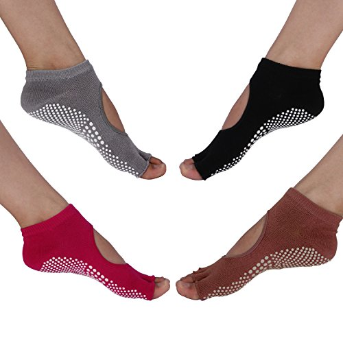 PAMASE Yoga Pilates Barre Anti-Slip Grip Socks - 4 Packs in One Size -Open Toes