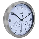 Hippih 12 Inch Silent Non-ticking Wall Clock- Metal Frame Glass Cover …