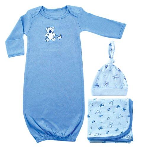 Luvable Friends Preemie Gown, Receiving Blanket and Cap Set