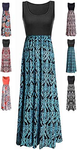 LIYOHON Womens Summer Striped Print Loose Maxi Dress Contrast Sleeveless Tank Top Floral Print Long Maxi Dresses for Women 02 Black Aqua-S