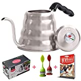 Pour Over Coffee Tea Kettle Set - Temperature Control Thermometer Gooseneck Tea Pots for Stove Top. BONUS 2 Loose Tea Infuser & 40 Recipes. Limited Time Special Offer - Shermans Choice (1.2L/40 oz)