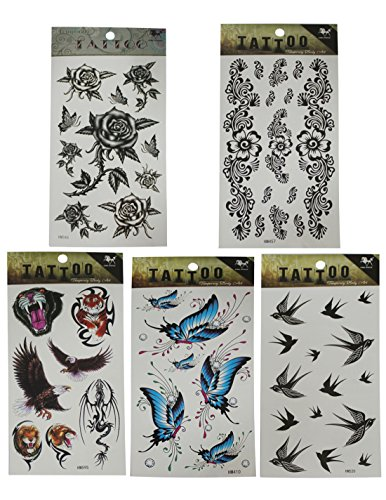 (Pack of 5) Temporary Tattoos (Over 30 tatoos in total) - Many Designs - Butterfly & Rose, Flower, Tiger, Eagle, Dragon & Lion, Butterfly and Swallow