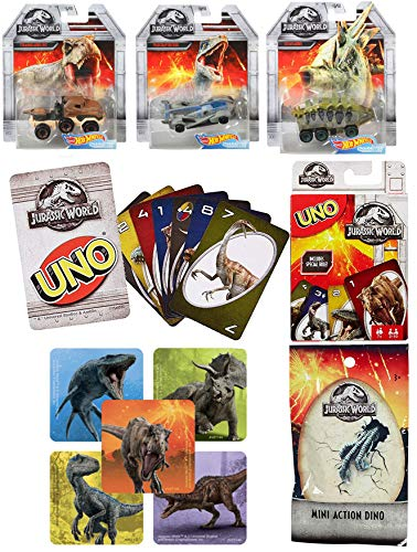 (Blue Velociraptor Hot Wheels Character Cars & Theme Matching Game Uno Jurassic World Collection Car Set Racer / Truck / T-Rex Hauler Stegosaurus with Mini Blind Bag Figure Sticker Bundle)