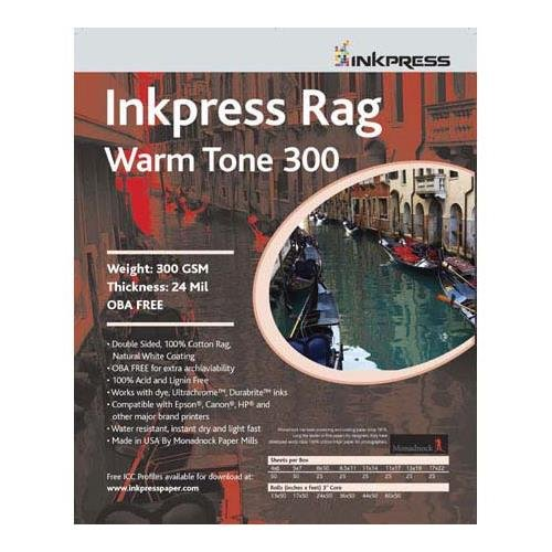 - Inkpress Rag, Warm Tone Double Sided, Cream White Matte Inkjet Paper, 23 mil., 300gsm, 11x17