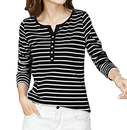 Maglie Lunga Primavera Collo V Basic Manica Moda Autunno Donna shirt Jinglive Maglietta T A Tops Camicie Bottoni Righe Sottile Casual Con Nero Bluse xOwdaqUX