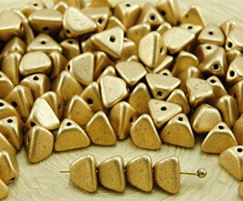 50pcs Matte Bronze Pale Gold Pinch Triangle Spacer Czech Glass Beads 4mm x 7mm