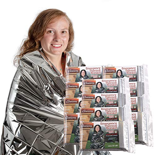 Grizzly Gear Emergency Thermal Blanket, 7 Feet x 4 1/3 Feet | 12-Pack ()