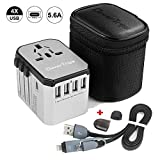 CleverTrips Universal Travel Power Adapter All in One Worldwide International Wall Charger AC Plug Adaptor with 5.6A Smart Power USB and 3.0A USB Type-C For USA EU UK AUS Cell Phone Tablet Laptop