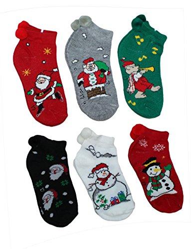 Toddler-Kids Christmas Holiday Design Ankle Pom Pom Socks, 6 Pack, Large, 6-8