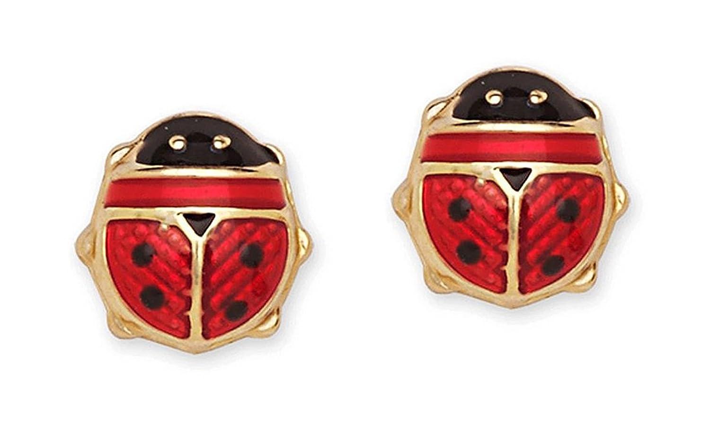 Tiny 14k Yellow Gold and Red Enamel Lucky Ladybug Stud Earrings