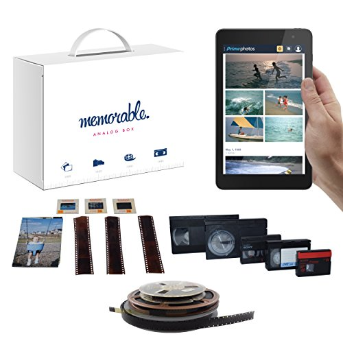Memorable Media Scanning Box to Amazon Prime Photos - 8mm VHS VHS-C Hi-8 Super 8 16mm Film 35mm Slides Negatives Paper Prints