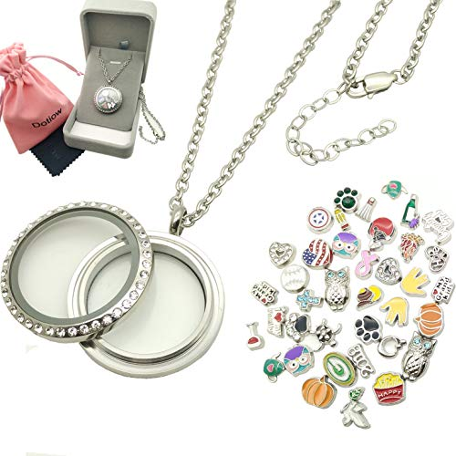 Dotiow 30mm Round Floating Locket w/50pcs No Duplicated Floating Charms Double-sided Locket Plate 24inch Stainless Steel Chain Birthday Xmas -
