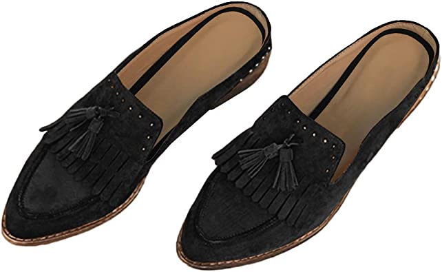 Amazon.com   Womens Mules Backless Penny Loafers Slip On Fringe Tassel  Rivet Stacked Low Heel Pointed Toe Flats Shoes   Loafers & Slip-Ons